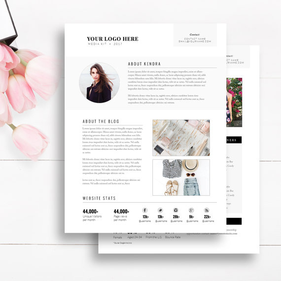 fashion media kit template
