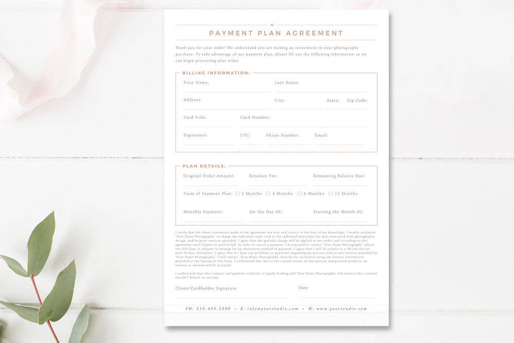 Professional Payment Plan Agreement Template For Photoshop  By