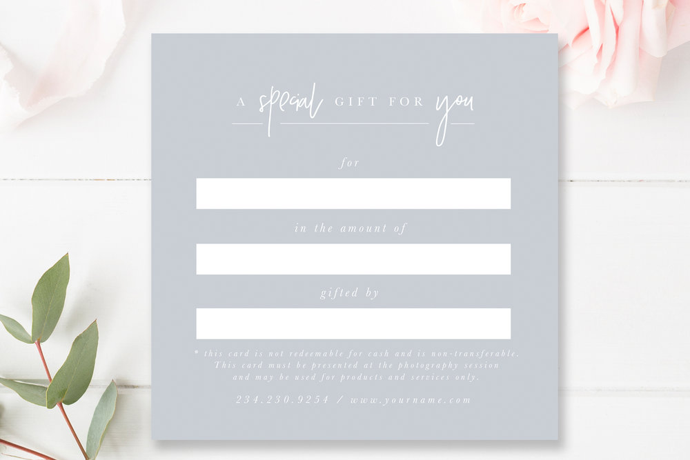 Photography Gift Card Photoshop Template By Stephanie Design
