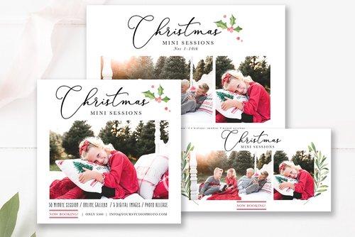 Christmas Mini Session Marketing Bundle Photoshop Templates For Photographers