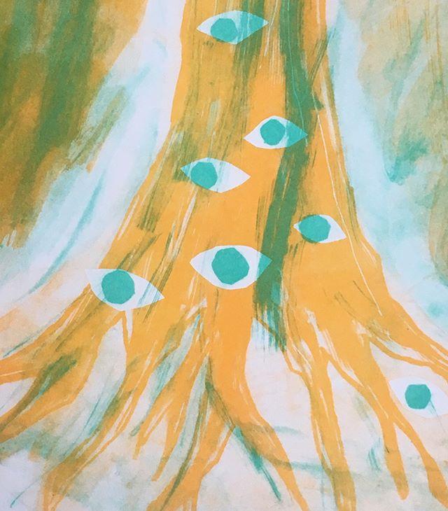 First tryout with riso-printing courtesy of Hato Press workshop, detail 👁🌳👁 . . . #treeoflife #risoprinting #needtogobacksoon #tryingnewmaterials #yellowtree #pumkinandmint #hatopress #workshop #waytospendasaturday #soyainks #illustrationgram