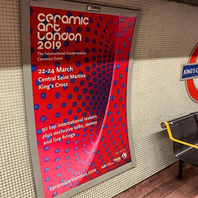 Mind the Vortex! Enjoyed bumping into this poster on way home last night. I have been designing all print material for the amazing international ceramic event that is @ceramicartlondon for 4/5 years now 😊 Very much looking forward to see it all IRL next week!Superb🔴🔵🏺art by @grainnewatts #ceramicartlondon  #graphicdesign #posterdesign #freelancer #londonunderground