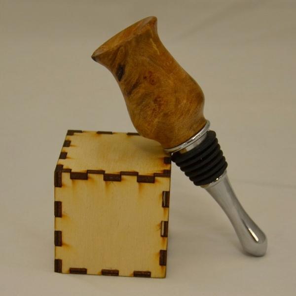 Maple Burl Bottle Stopper - The cube is 2