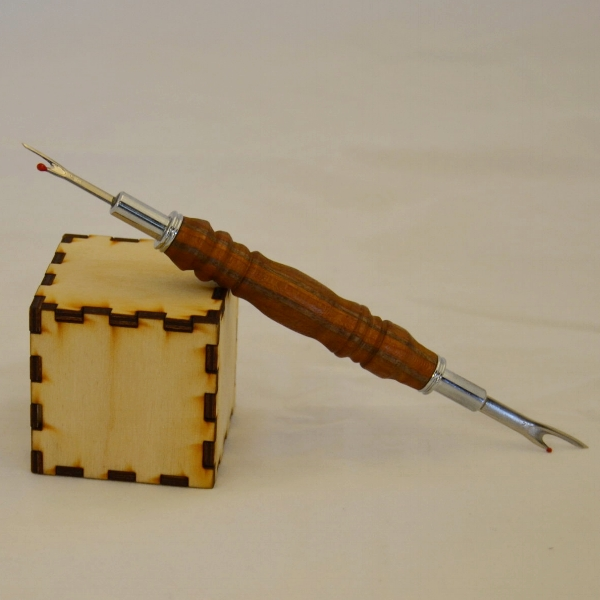 Cherry and Walnut Shop-Made Laminate Seam Ripper - The cube is 2