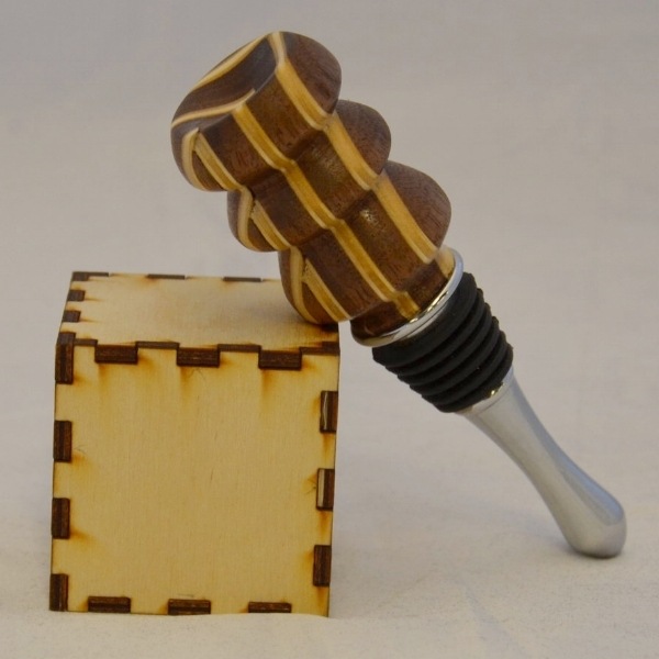 Walnut and Birch Plywood Shop-Made Laminate Bottle Stopper - The cube is 2