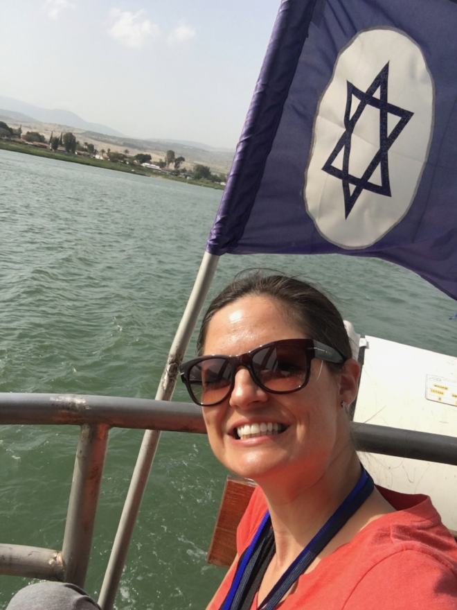On the Sea of Galilee. Still in the boat.