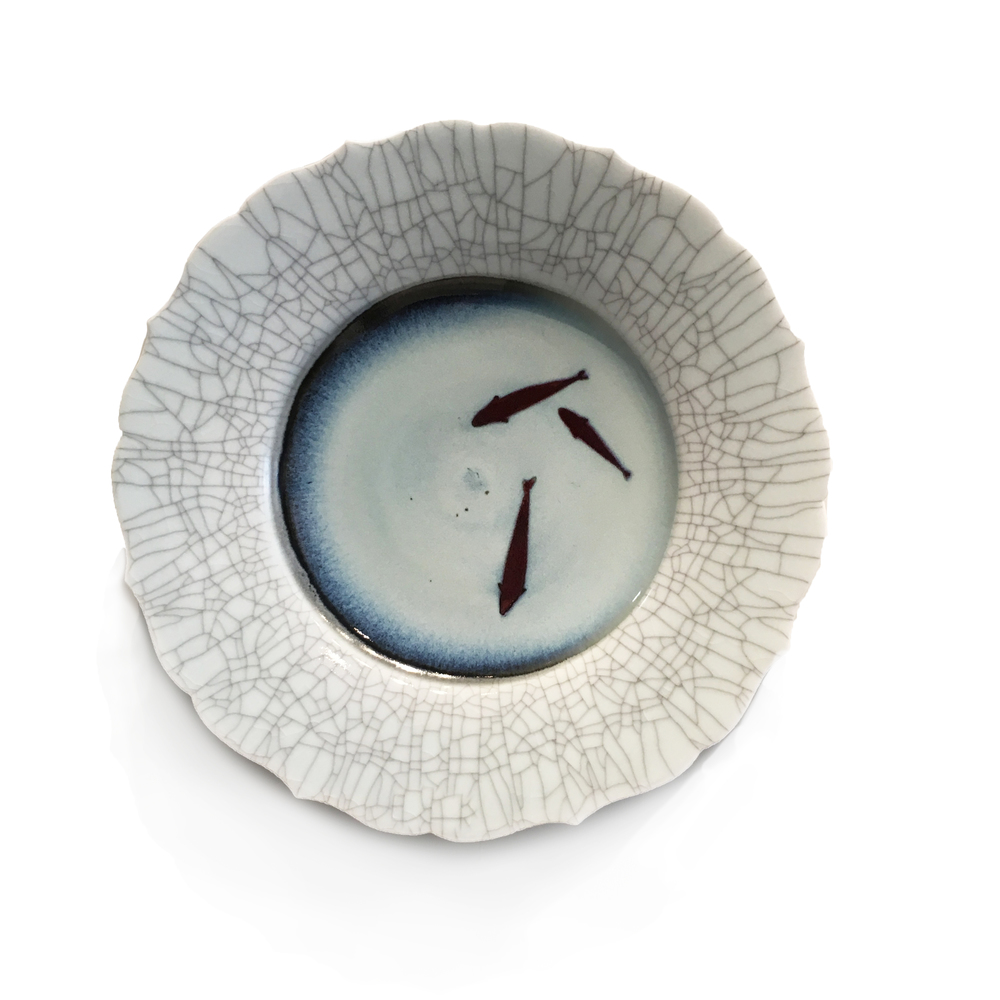 Crackle, lotus rim, koi plate by Bill Reddick