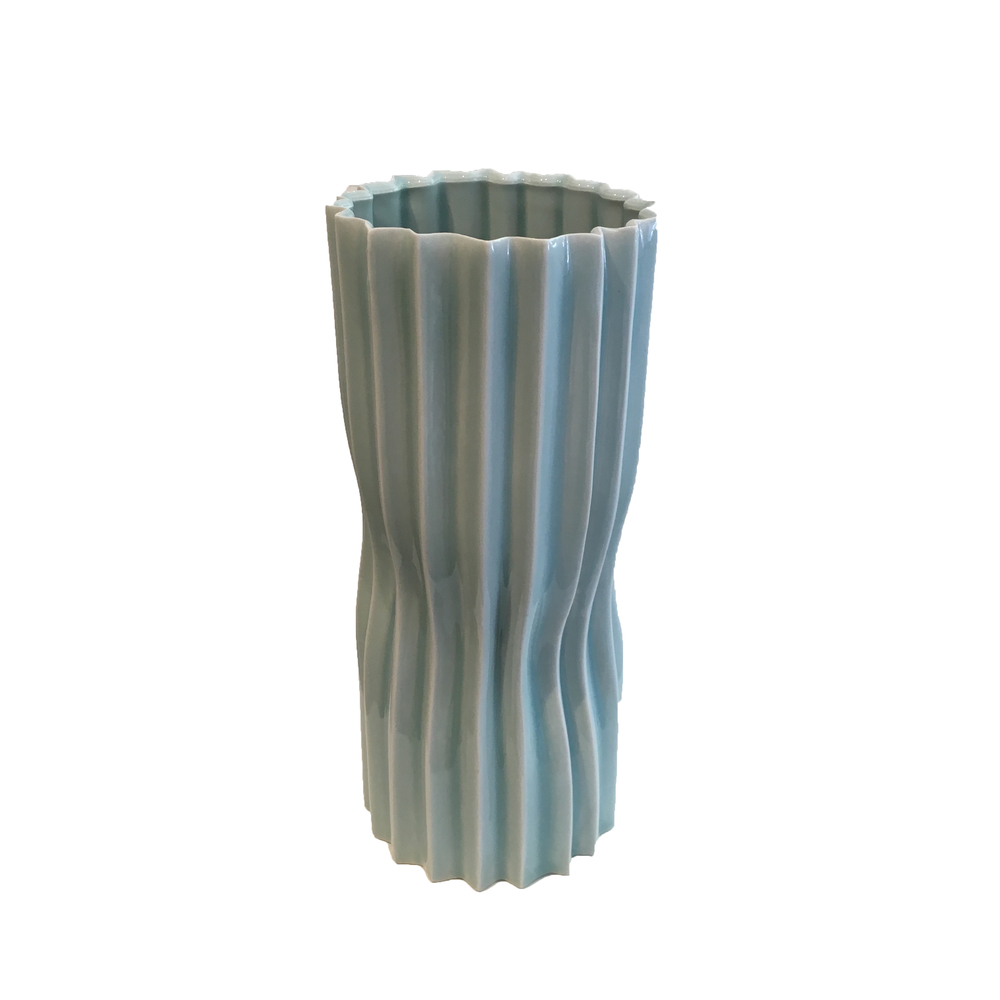 Corrugated celadon vase by Bill Reddick