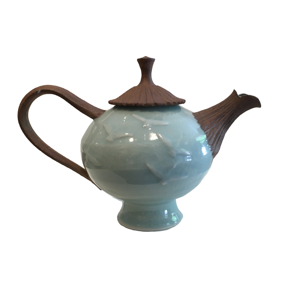 Stoneware and Celadon teapot by Bill Reddick