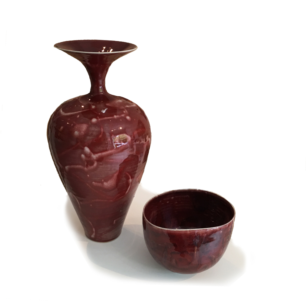 Tall Red Vase and Bowl by Kayo O'Young