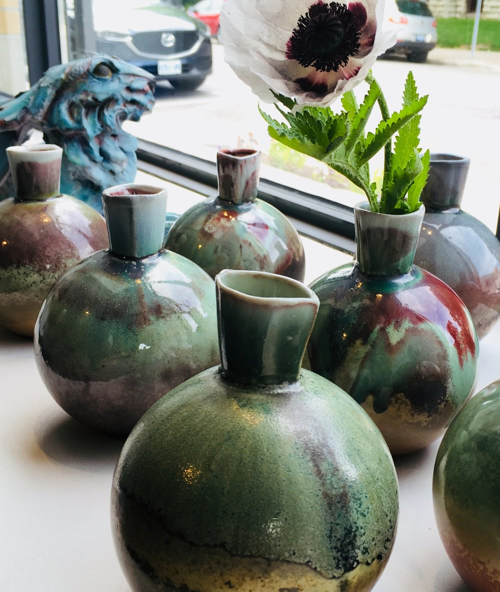 Slip cast bottle vases by Teresa Dunlop