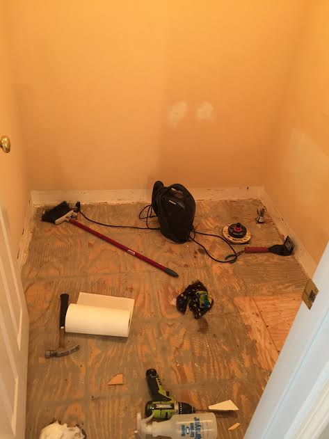 Complete demolition of bathroom : the before