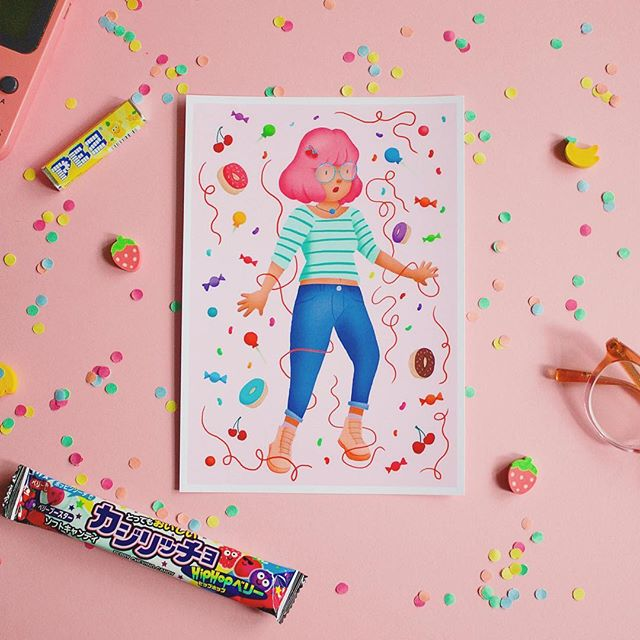 candy girl mini prints - you can get these from sugarbop.shop (clickable link in bio) 🍒🍬🍭🍩🍫🍦