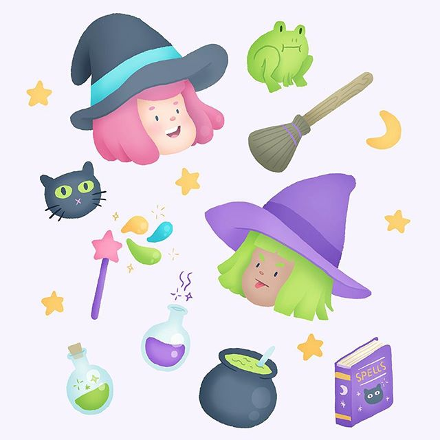 I binge watched Little Witch Academia on Netflix and now all I want to draw are little cutie witches #cuties #witchy