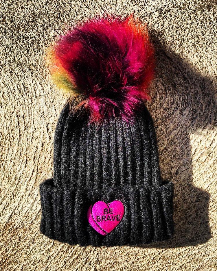 e7d6a9e0a16 BE BRAVE Power Heart Beanie with Mink Fur Pom Pom — Amberella