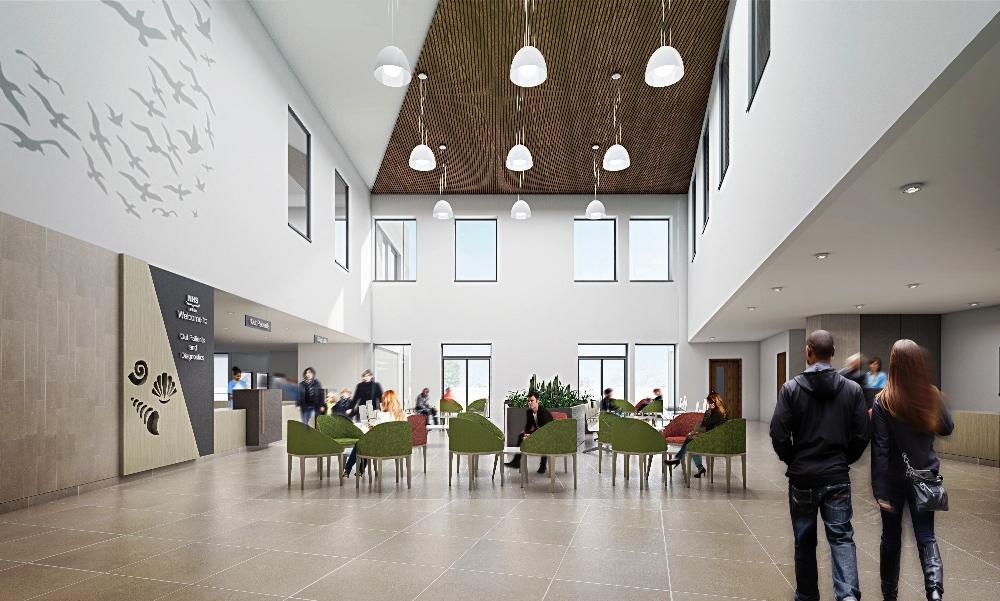 East Lothian Community Hospital, OPD Waiting Area -  Visualisation by Keppie Design