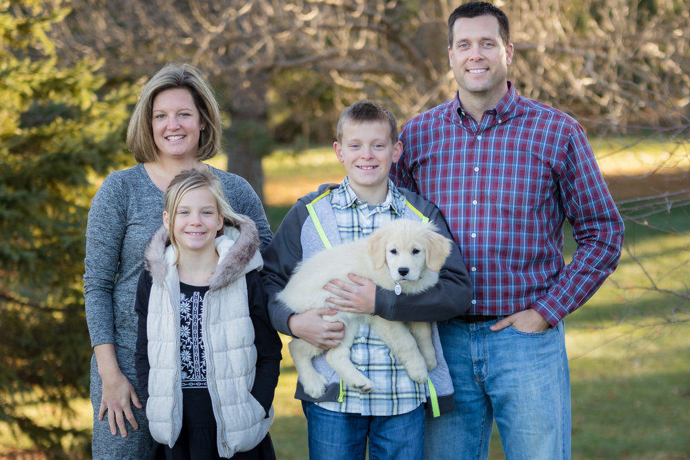 Joe with his wife Cortnay, kids Ryan and Madison along with dog Indie. -