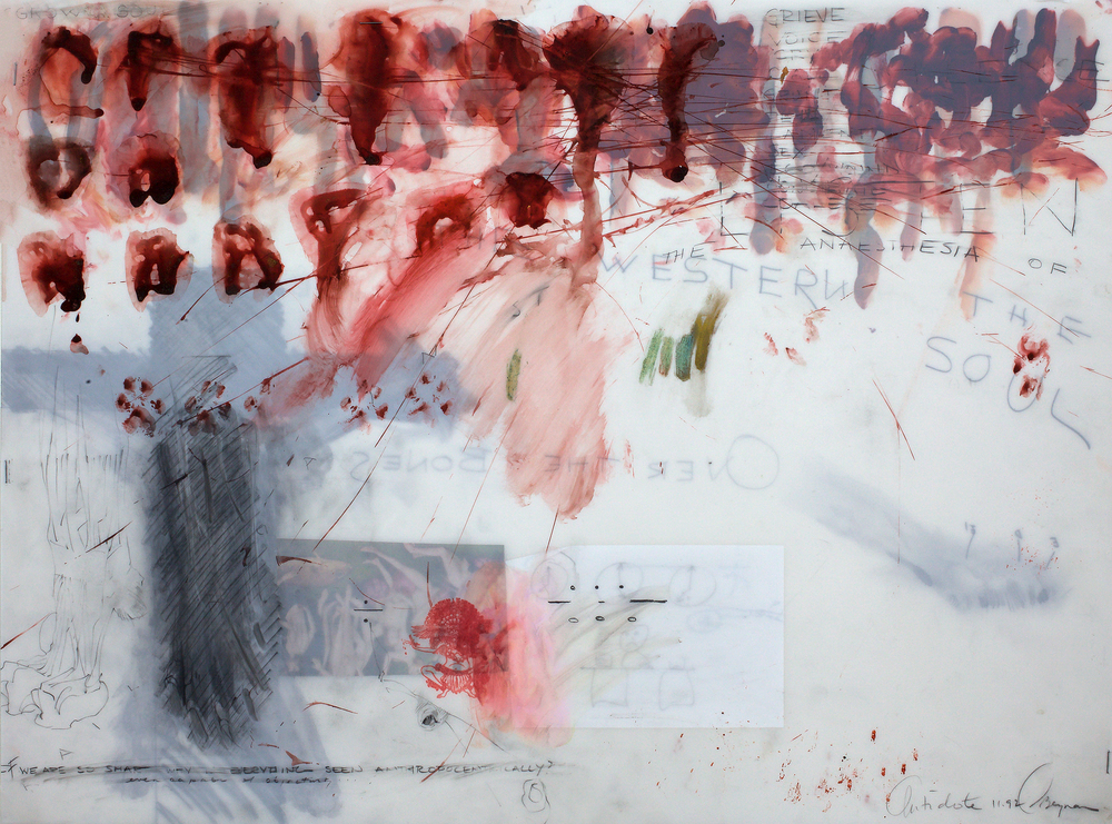 "Ciel Bergman, ""Antidote #33"", 24""x18"", Mixed media on architectural mylar, 2003"