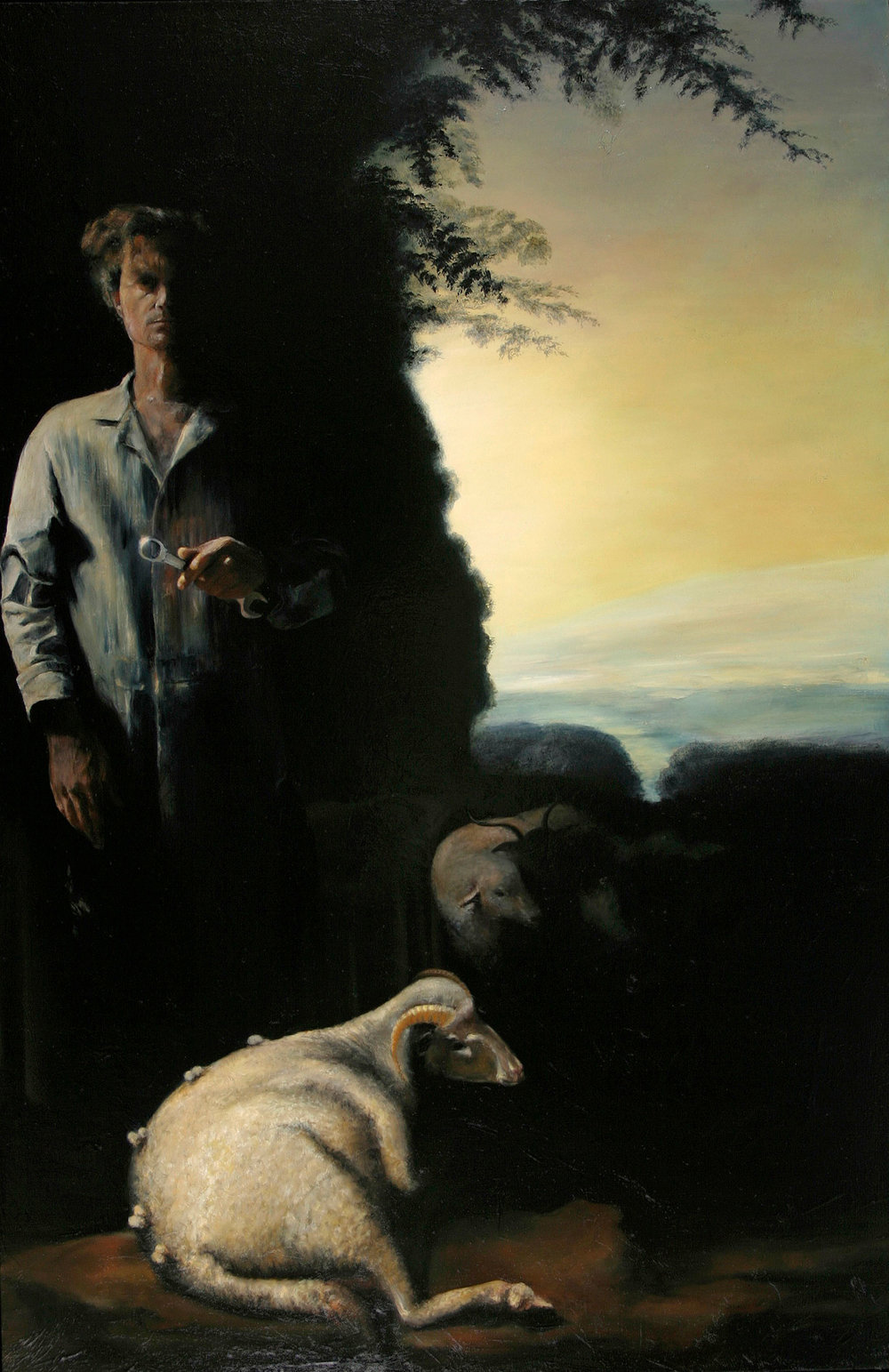 "Self Portrait As Mechanic In Pastoral Setting 2004, oil on canvas, 64""x 42"""