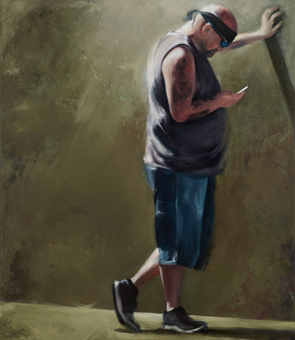 Man Texting, 2017 oil on canvas 60 x 52 in.