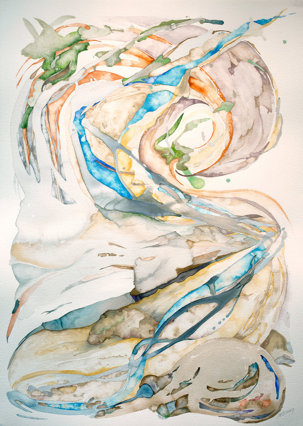 Braided Bed , 2017, watercolor on Italian watercolor paper, 41 x 29.5 in.