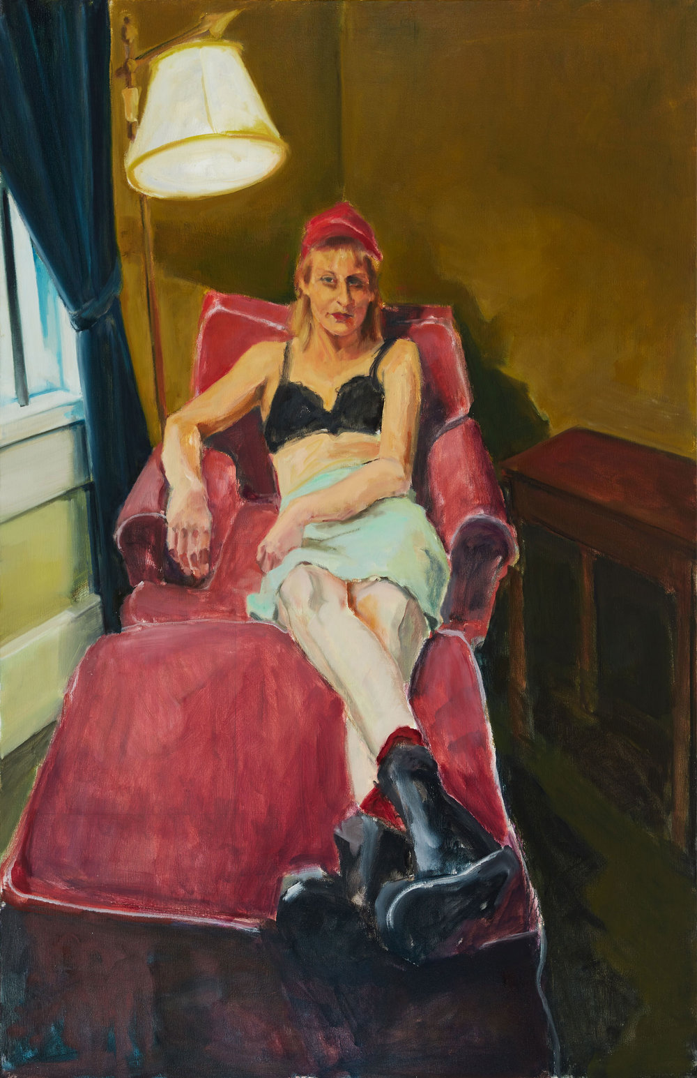 Woman on Red Chair 2016  ,  Oil on canvas, 50 x 42 in.