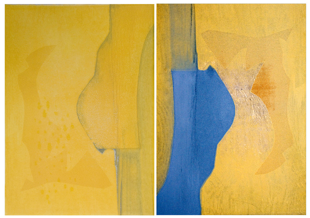 Yellow/Blue (framed) diptych, 2009, Monotype , 42 1/2 × 60 1/2 in.