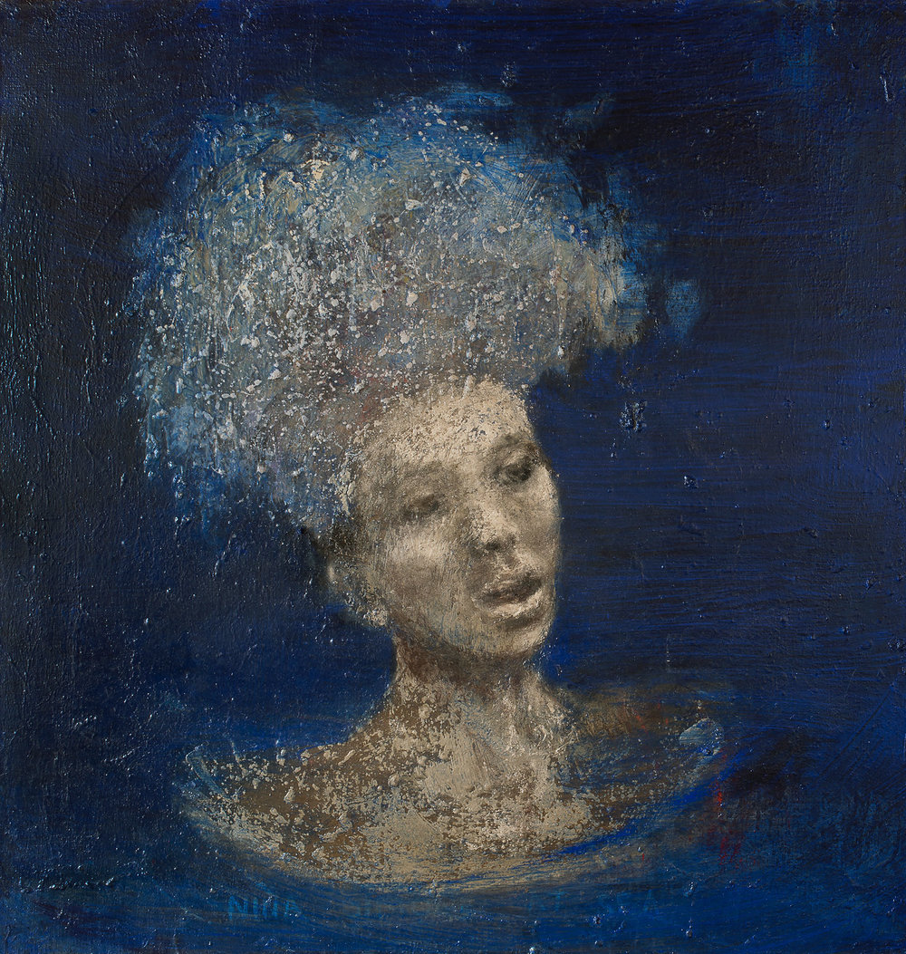 Nina Simone at Sea, 2017, oil on canvas, 36 x 36 in.