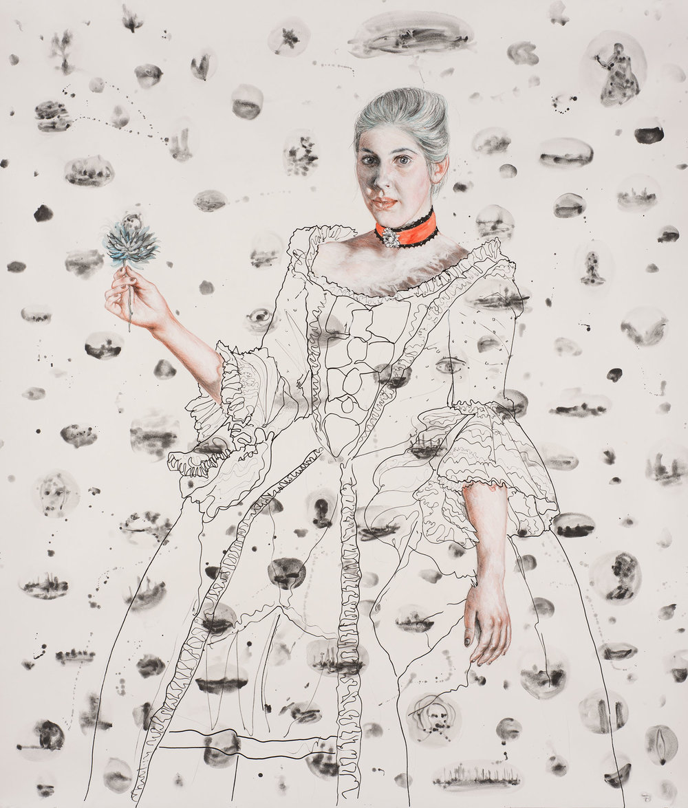 Dona Inez with a Flower, 2017, ink, sepia, charcoal and graphite on watercolor paper, 60 x 48 in.