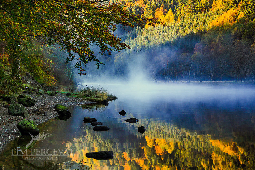 Loch Lubnaig Autumn Mist at Dawn