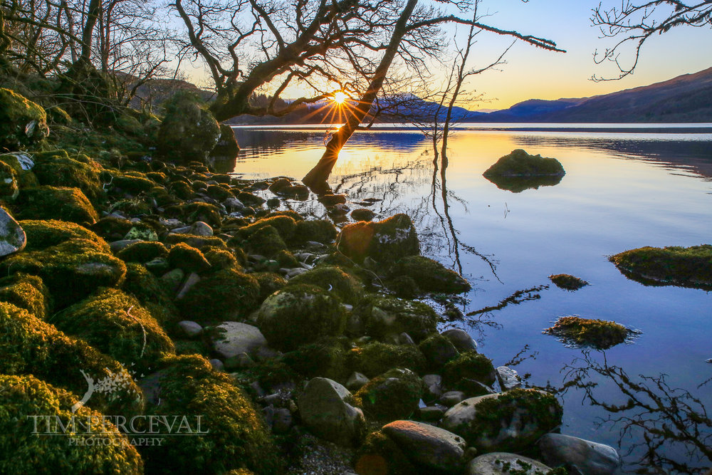 The shore of Loch Venachar at Sunset