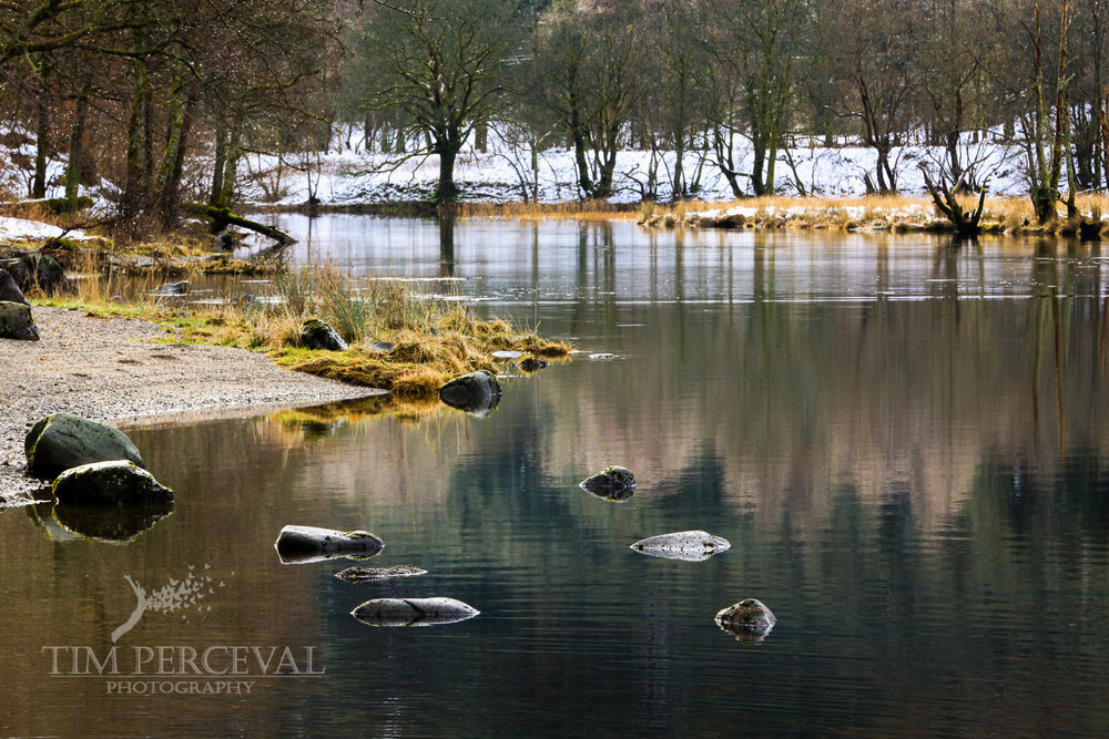 Winter stepping stones on Loch Lubnaig