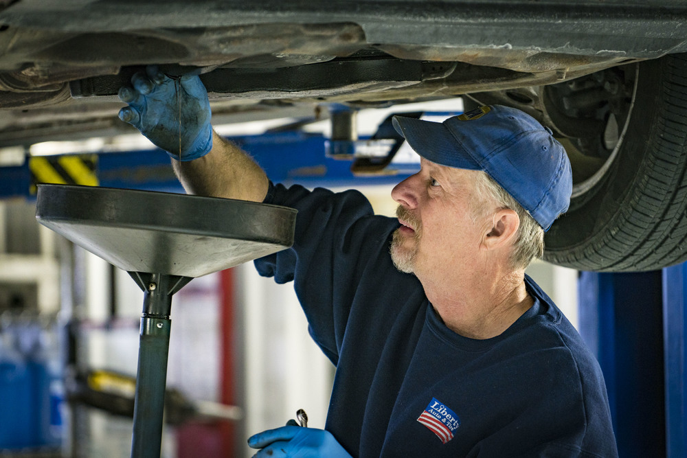 Changing oil on a car with nearly 300,00 miles, the team at Liberty have been servicing this vehicle all of its life. Value is important to Brent, and it reflects in what and how he approaches his work.