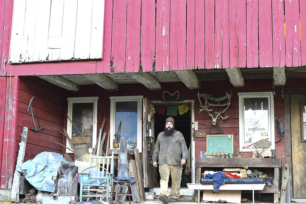 Stepping out of his Myersville, MD woodworking shop preparing to start a project in his Blacksmith Forge