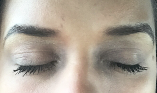 This is a selfie I got the other day from my client with the very sharp arches (sorry about the fuzzy picture quality!). She is most of the way through the healing process in this picture.  As you can see the color has softened quite a bit and the brows are still in the process of exfoliating.  The initial healing process takes about 10 days, during which time you must avoid pools, saunas, and hot tubs, major sun exposure, facials, and wearing makeup.