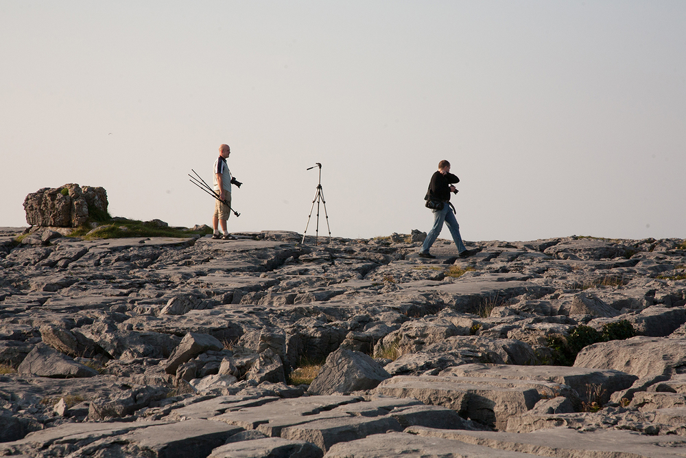 A documentary photograph of photographers taking photographs of the Burren in the West of Ireland