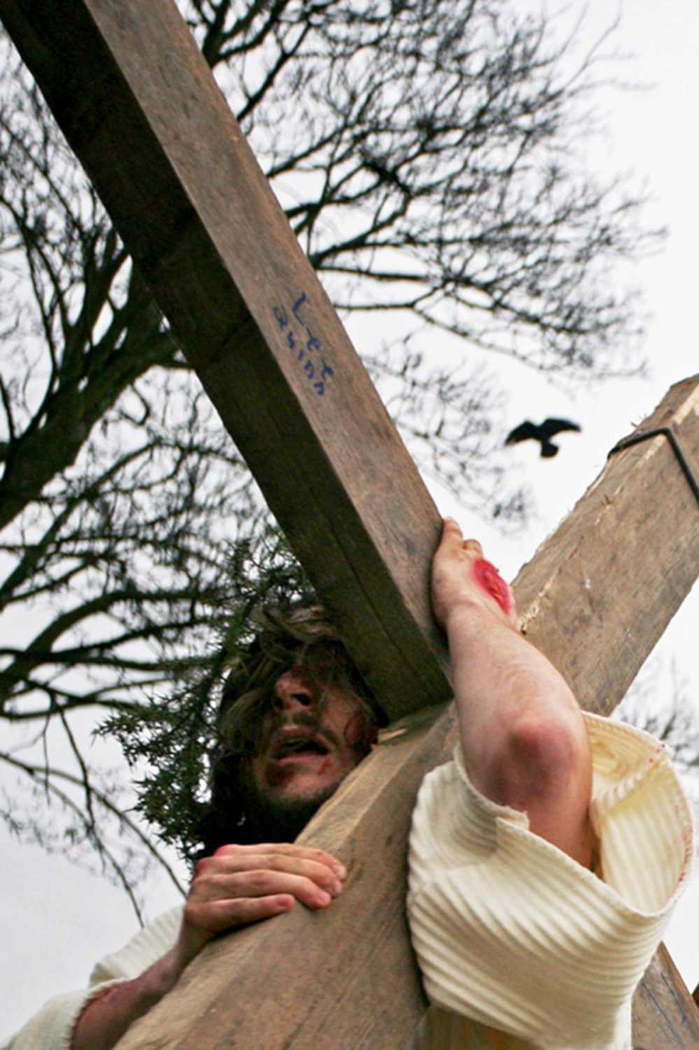 A documentary photograph of the monks of Moyross performing the Passion of the Christ in Limerick, Ireland