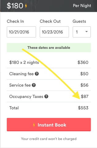 Chicago Airbnb listing includes $87 in occupancy taxes.