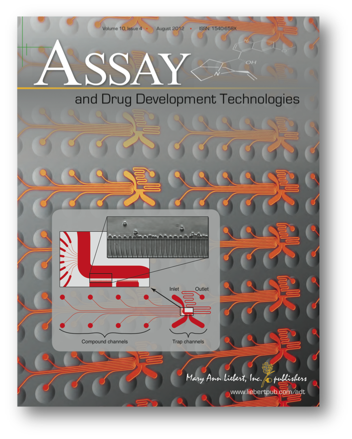 The IonFlux plate design on the cover of Assay and Drug Development Technologies in 2012.