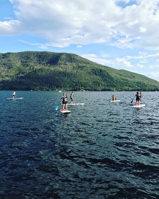 SUP Ladies Night starts at 6pm every Monday! Come hang with a group of novice and experienced paddlers and enjoy a glass of something refreshing afterwards. It's a win-win.  Call to reserve your spot.  #supgrandlake #wearethecolorado #grandcounty #mountains #paddleboarding #grandlake #paddle #bicsup #mti #ladiesnight #rockymountainsup