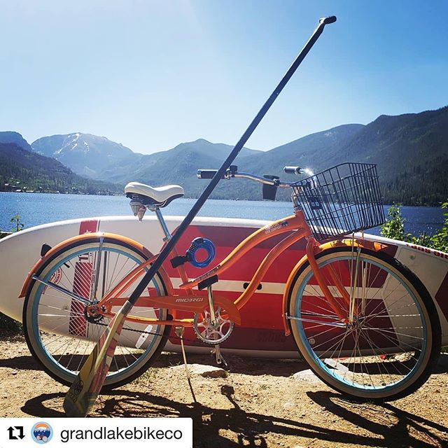 Get your morning paddle in with us and then head to @grandlakebikeco for a pedal around town on a cruiser bike.  Show your receipt from us and get 20% off your rental.  #supgrandlake #rockymountainsup #grandlakebikeco