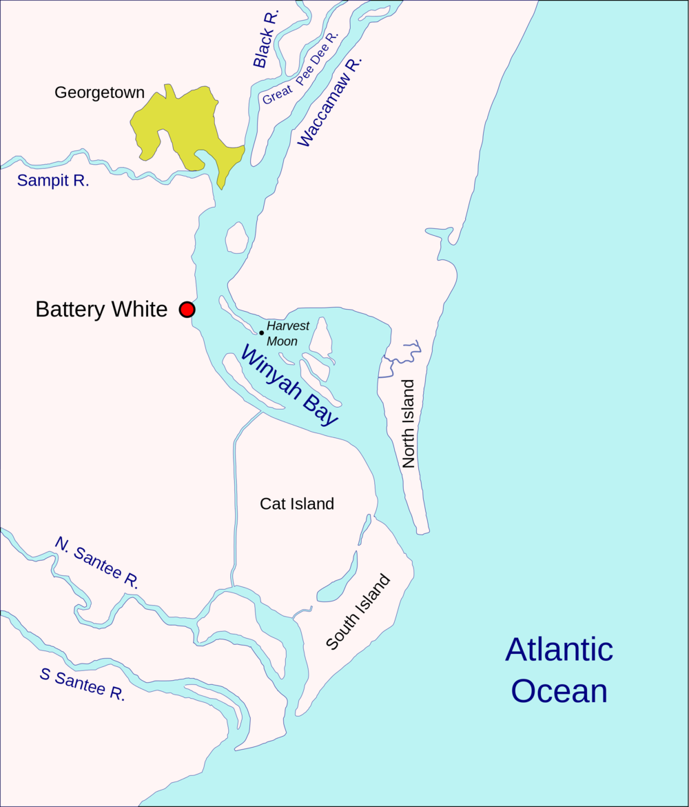 Coastal features of Georgetown, SC. Notice how the North Santee, South Santee, Sampit, Black, Pee Dee,and Waccamaw Rivers all meet here.