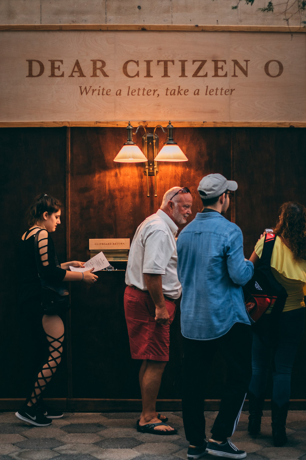 Letter writers submitting their letters (photo : Charles Schuett)