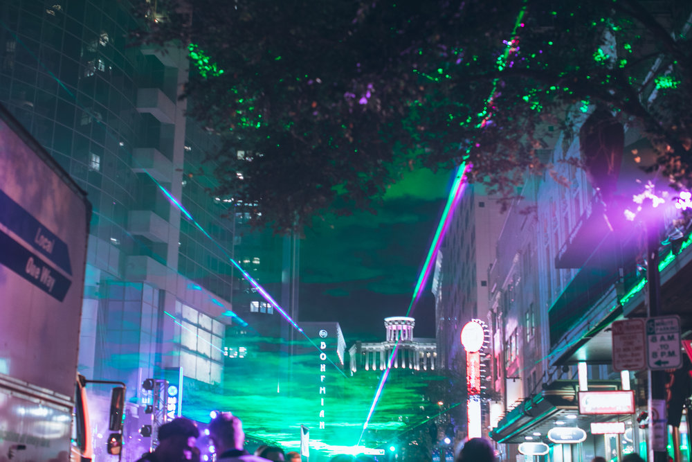 A canopy of lasers over Downtown Orlando (photo : Herb Gonzalez)