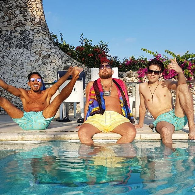 Throwback to the @thecubanbrothers taking some relax time after Bestival Bali #AllowIt!  Check out our 20 year anniversary celebration trunks (link in bio)  #sunsoutgunsout #YesFriends #AlwaysSunnySomewhere #poolparty #thefeelingisnice #thecubanbrothers #letale #limitededition