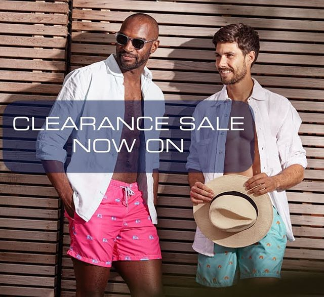 We're having a big old clearance sale on all swimming trunks. Huge discounts, while stocks last. #sunsoutgunsout #menwithstyle #swimshorts #summerdiscount #summersales