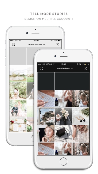 Add multiple Instagram accounts to UNUM to so that you can edit, plan, schedule, and theme each one beforehand. Beautiful themes lead to growth and more followers, comments, and likes.
