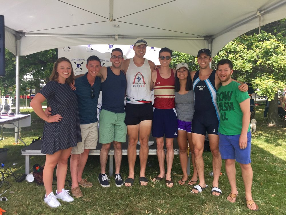 The WashU Crew rowers, coxswains, and alumni present at the 2017 Chicago Sprints Regatta