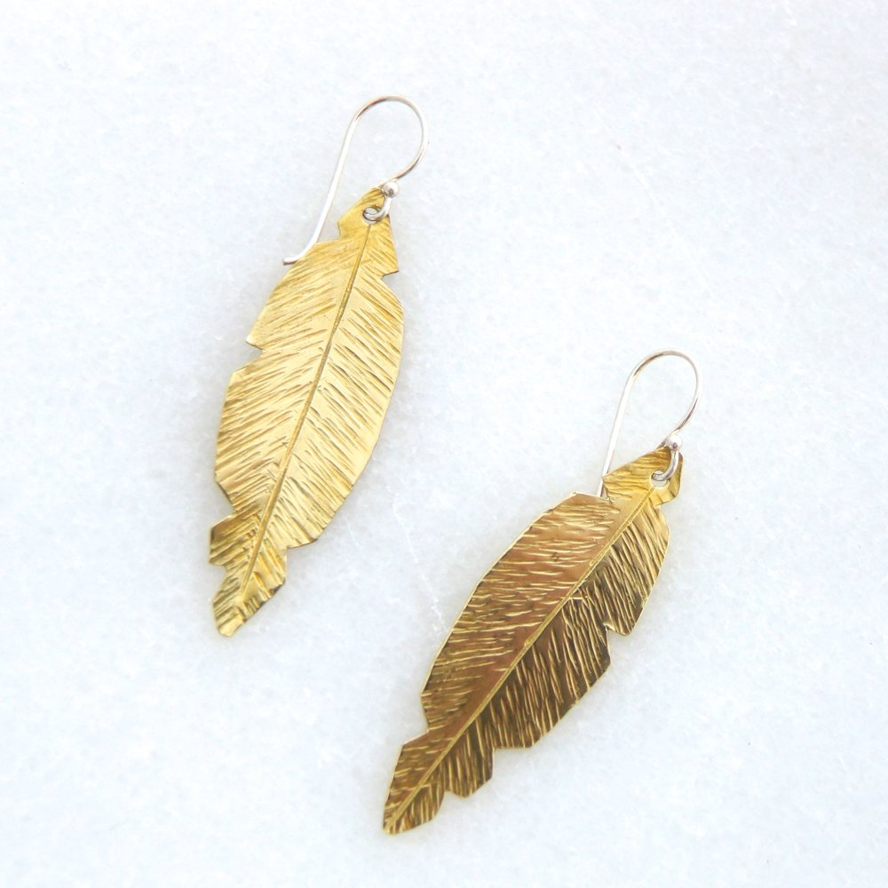Brass Feather Earrings on SS Hooks                           $17.50