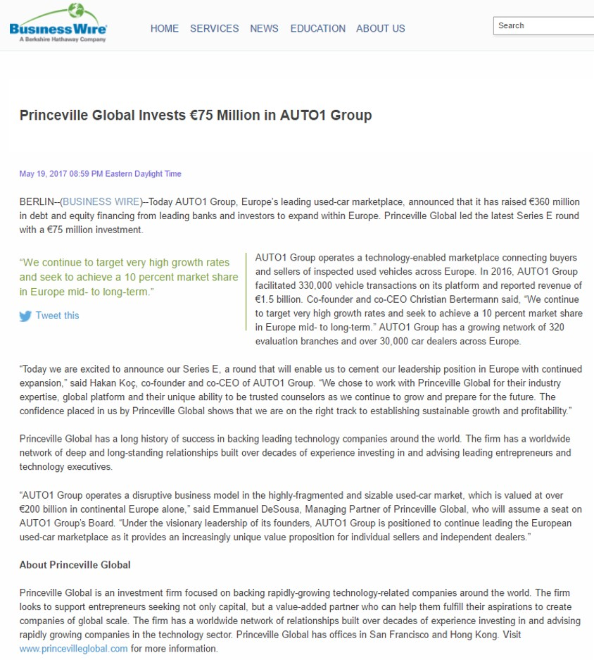Business Wire - Princeville Global Invests €75 Million in AUTO1 ...
